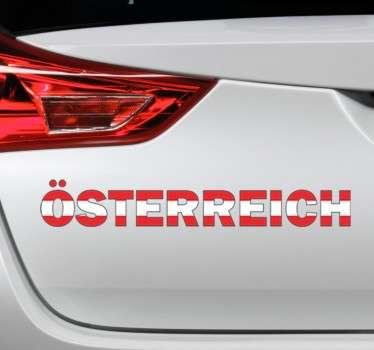 Dekorativer Text Sticker - Abgebildet wird das Wort Österreich in den Nationalfarben, Rot und Weiß.