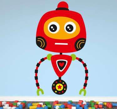 红色机器人孩子贴纸