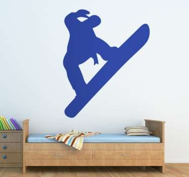 Fun sticker with the silhouette of a snowboarder in action.