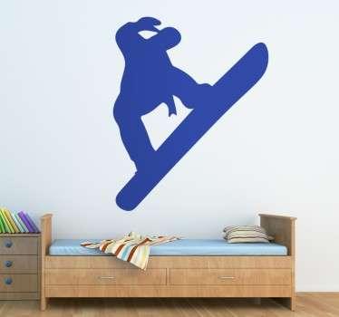 Adhesivo juvenil con la silueta de un practicante de snowboard.