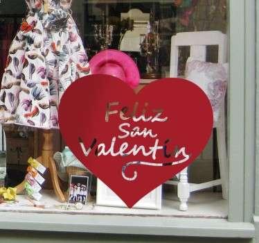 Vinilo decorativo corazón Feliz San Valentín