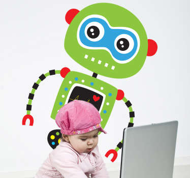 This magnificent design of a green robot with a beating heart from our collection of robot wall stickers is ideal for children. Are you planning to decorate your child's bedroom? This colourful and friendly decal will make them smile and create a colourful atmosphere for their bedroom decor.
