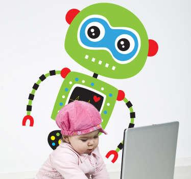绿色机器人孩子贴纸