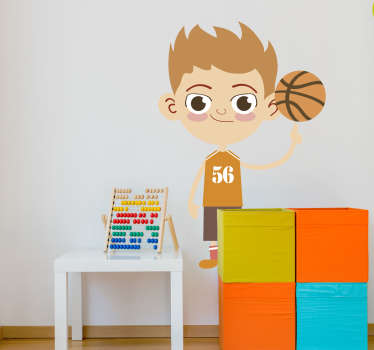 Cartoon sticker silhouet basketbalspeler