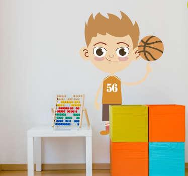 Cartoon sticker silhouet basketbalspeler