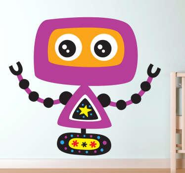Mit diesem violetten Roboter als Wandtattoo können Sie das Kinderzimmer schnell und einfach dekorieren.
