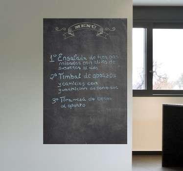 Vinil decorativo quadro preto ardósia menu