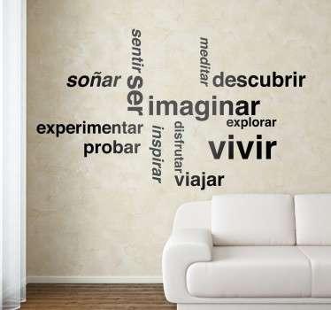Vinilos de palabras motivacionales disponibles en gran variedad de tamaños y más de cincuenta colores distintos.