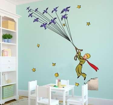 Naklejka na ścianę dla dzieci lecący Mały Książę