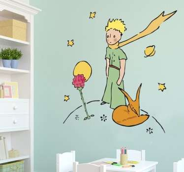 Original Little Prince drawing from the famous novel by Antoine Saint-Exupéry in the form of a wall sticker. This colourful Little Prince wall sticker is perfect for creating a loving and childlike atmosphere for any kids room, nursery or living room.