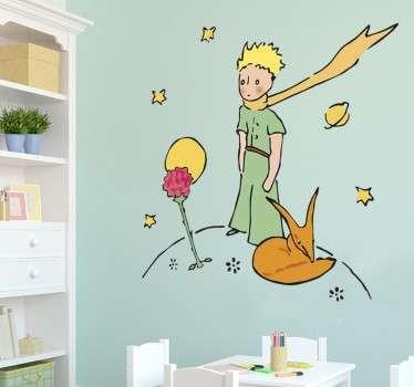 Sticker Petit Prince et sa rose