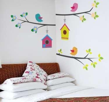 Naklejka na ścianę kolorowe ptaki na gałęziach