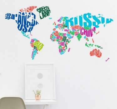 From our wide range of world map wall stickers, a colourful decal with the countries of the world written in their location on the map.