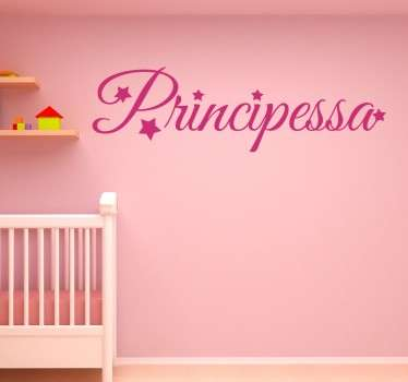 Wall sticker decorativo che raffigura la scritta principessa. Perfetto per tutti coloro che vogliono decorare la cameretta della propria figlia