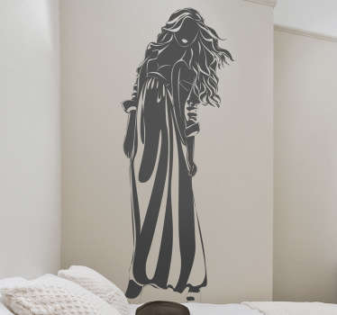 Wall Stickers - Silhouette illustration of a female with long hair in a dress.  Available to buy in various sizes and in 50 colours.