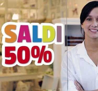 Sticker decorativo che raffigura la scritta Saldi, ideale per tutti coloro che hanno un negozio e vogliono decorare la propria vetrina.