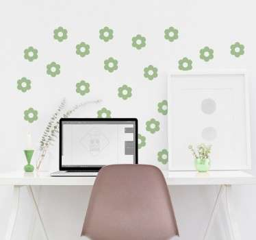 Blomstermønster vegg klistremerke