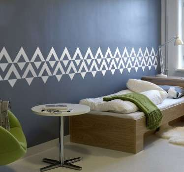 Stylish border decal with Nordic style triangles that can be placed in your home to create a modern border around the room. Available in a wide range of sizes and colours.
