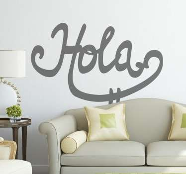 Calligraphic Hola Sticker