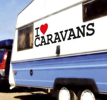 Decoratiesticker I Love Caravans