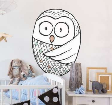 A wall sticker designed exclusively for tenstickers.co.uk of a cute Nordic style owl. Perfect for children's bedrooms.
