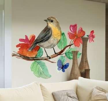 Akvarell fugl gren klistremerke