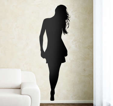 Decorative sticker illustrating an a silhouette of a woman with her hair down. Superb decal to decorate any room at home.