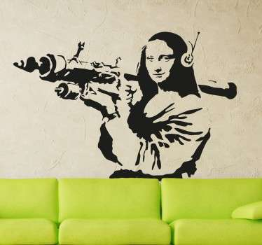 Veggklistremerke fra den urbane graffitikunstneren med et klassisk kunstverk med en kontroversiell vri.