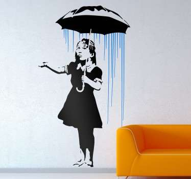 Street art wall sticker based on work by the urban artist Banksy, showing one of his most recognised works. A piece of graffiti artwork of a little girl standing under an umbrella in the rain. Place anywhere in your home to add a contemporary touch.