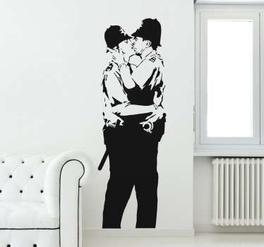 Banksy sticker with one of his most recognized works in which two policemen are kissing passionately.