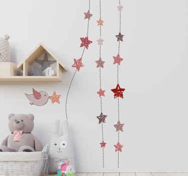 Hängande stjärnor med fågelklistermärke