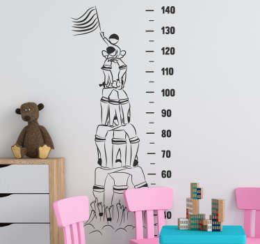 Decorative castellers meter height chart wall decal for children bedroom space to measure height in a fun way. It is available in different colours.