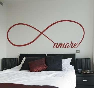 Wall sticker decorativo che raffigura il simbolo dell'infinito con la scritta amore.