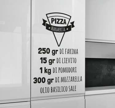 Vinil decorativo receita pizza italiano
