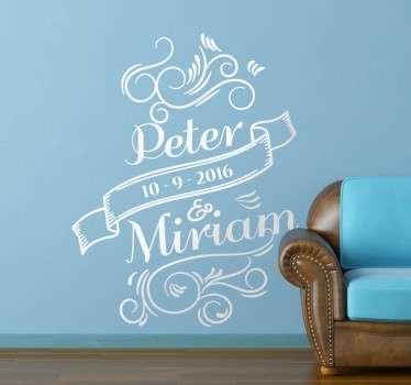 Customisable Wedding/Anniversary Date Wall Sticker
