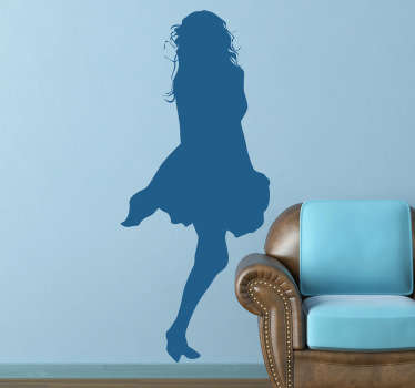 Decals - Silhouette illustration of a woman with long hair in a short summer dress. Playful and sensual design feature ideal for homes and businesses.
