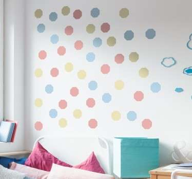 Collection of 48 octagonal shapes in three shades of pastel colours, ideal for redecorating any room to give it a fresh look.
