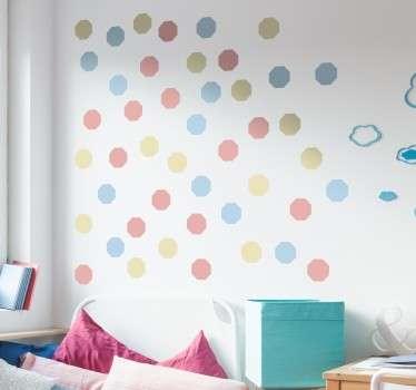 Naklejki na ścianę pastelowe ośmiokąty