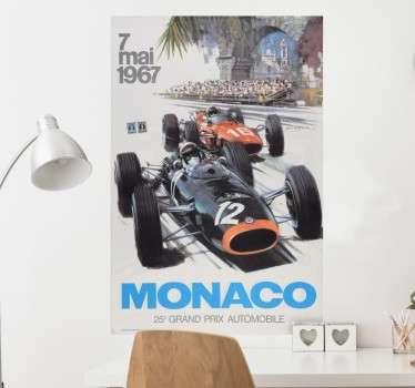 Poster muursticker die de Grand Prix van Monaco 7 illustreert, ideaal voor alle liefhebbers van de autosport F1. 10% korting bij inschrijving.