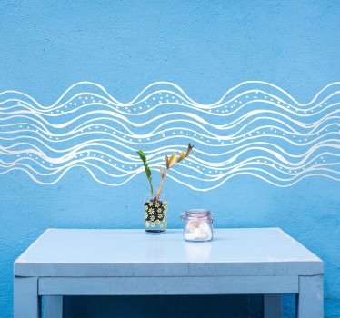 Mural decorated with an abstract design inspired by the sea waves.