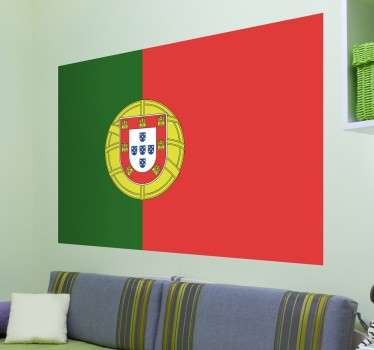 Portuguese flag wall decal to decorate your space with pride. It is available in any required size and it application is easy.