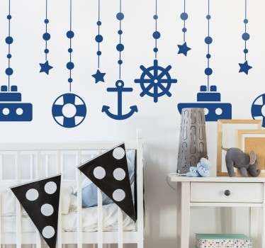 Nautical wall decals - Decorate your child´s bedroom with these nautical themed objects that appear as if they are hanging from the ceiling.