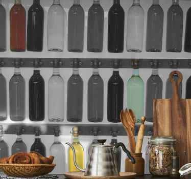 Photo Murals - Photographic decal of a collection of bottles.Style your home or business with simple and original photography