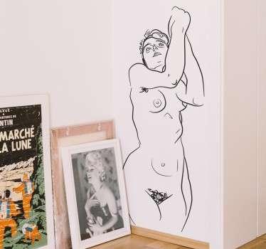 Vinil decorativo retrato nu Schiele