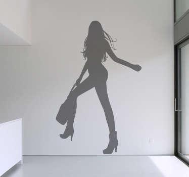 Sticker silhouette meisje met lange benen