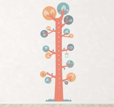 Vinil decorativo infantil medidor árvore nórdico