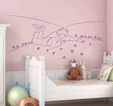 Un sticker mural décoratif qui représente le Petit Prince tel que dessiné par Saint-Exupéry dans l'herbe. Pour retrouver votre âme d'enfant.