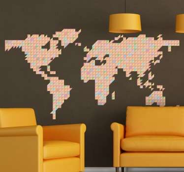 Vinyl wall sticker with a synthesized representation of a world map made with geometric shapes of different pastel colours.