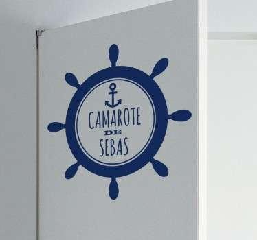 Vinilos para personalización de puertas con un diseño de inspiración marinera con nombre personalizable.