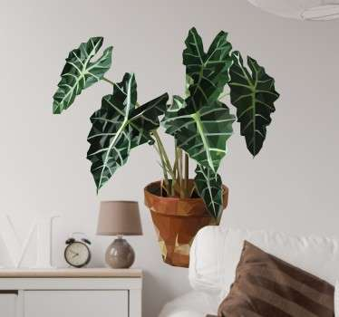 Geometric Plant Sticker - A modern design to add to your home decor. A beautiful geometric design of a green leafy plant.